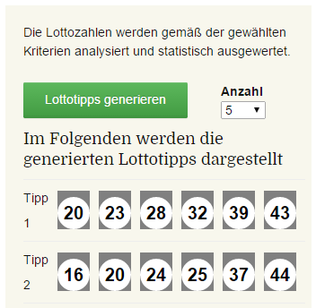 Lotto Auflistung