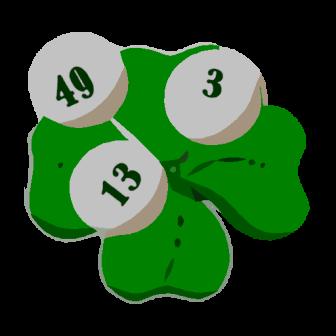 Kleeblatt mit drei Lottokugeln